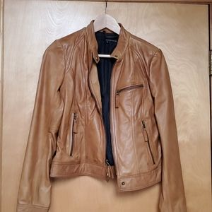 Wilson Leather Cognac Moto Jacket. Lined. S